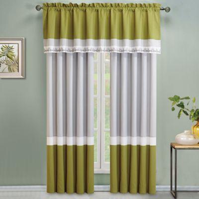 Montclair 84-Inch Window Curtain Panel Pair in Green/Grey