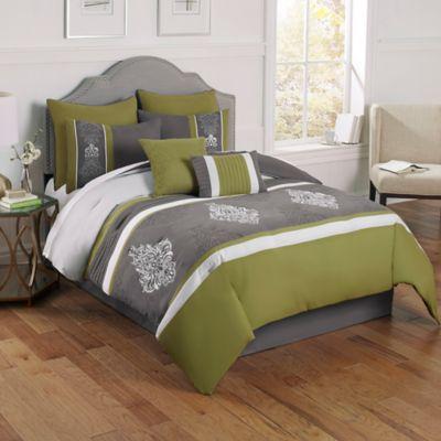 Montclair 8-Piece Queen Comforter Set in Green/Grey