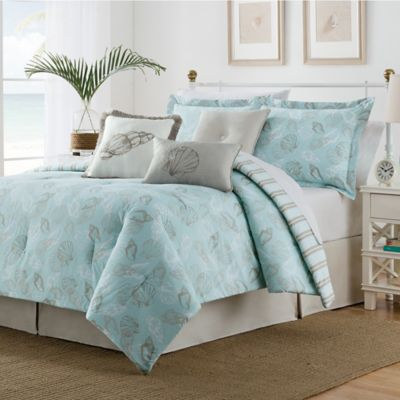 Seashell Reversible Queen Duvet Cover Set in Blue/Tan
