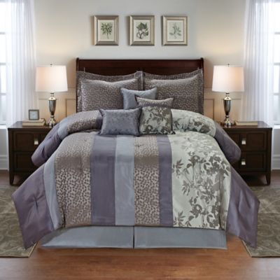 Cathay Home Leaves 7-Piece Jacquard Reversible Queen Comforter Set in Purple