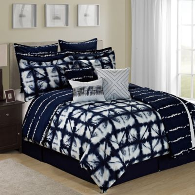 Tie Dye Plaid Reversible 12-Piece Queen Comforter Set in Navy/White
