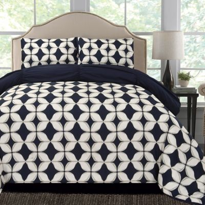 Thro Taylor Microfiber Reversible Twin/Twin XL Comforter Set in Navy