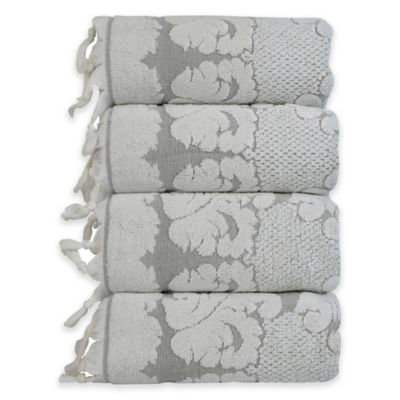 Celestina Jacquard Hand Towels in Grey/White (Set of 4)