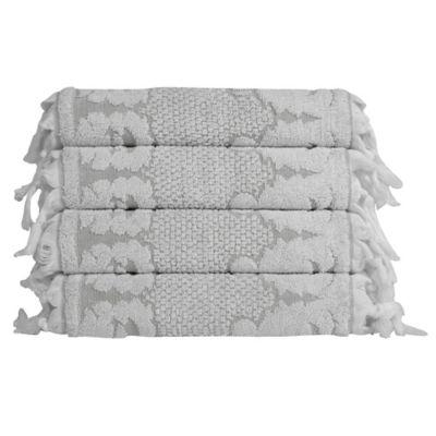 White Grey Jacquard Washcloths