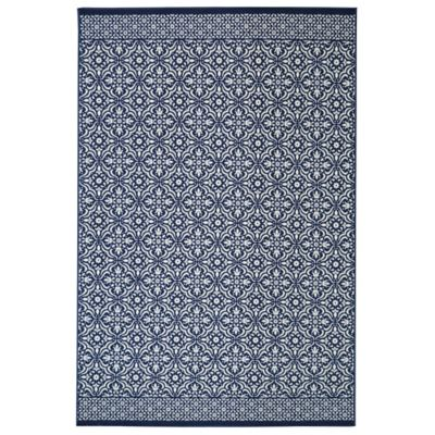 Mohawk Home Tile Print 1-Foot 8-Inch x 2-Foot 8-Inch Accent Rug in Navy