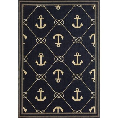 Veranda Anchor Chains 8-Foot x 10-Foot Indoor/Outdoor Area Rug in Navy