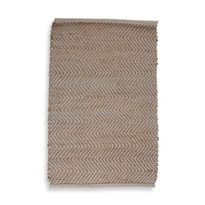 Handwoven Chevron 2-Foot x 3-Foot Accent Rug in White/Tan