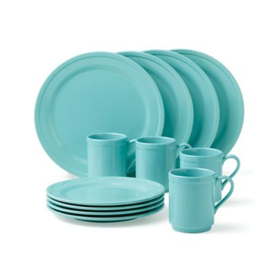 kate spade new york All In Good Taste Sculpted Scallop 12-Piece Dinnerware Set in Turquoise