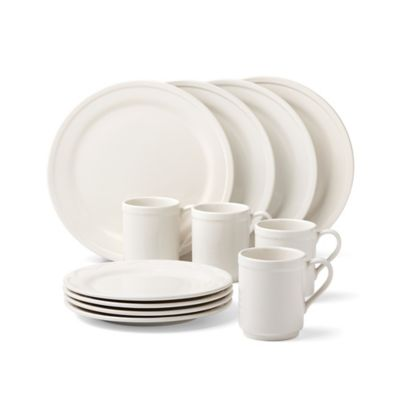 kate spade new york All In Good Taste Sculpted Scallop 12-Piece Dinnerware Set in Cream
