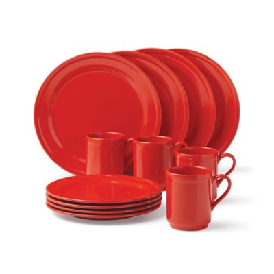 kate spade new york All In Good Taste Sculpted Scallop 12-Piece Dinnerware Set in Red