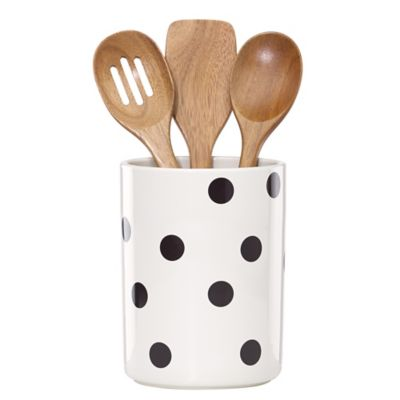 kate spade new york All in Good Taste Deco Dot Utensil Crock with 3 Utensils