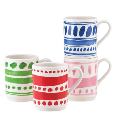 kate spade new york All in Good Taste Pretty Pantry Stacking Mugs (Set of 4)