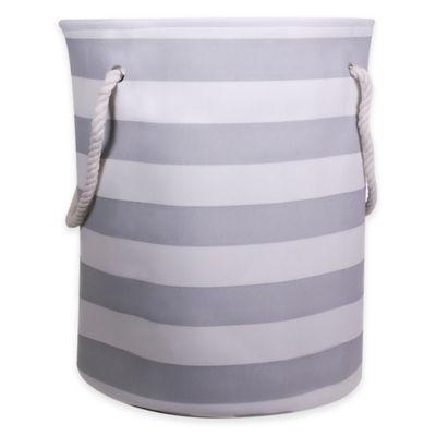 Striped Canvas Fabric Hamper in Grey