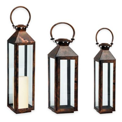 Cambridge Classic 20-Inch Lantern Candle Holder in Brushed Copper