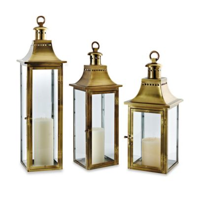 Cambridge Traditions 32-Inch Lantern Candle Holder in Antique Brass