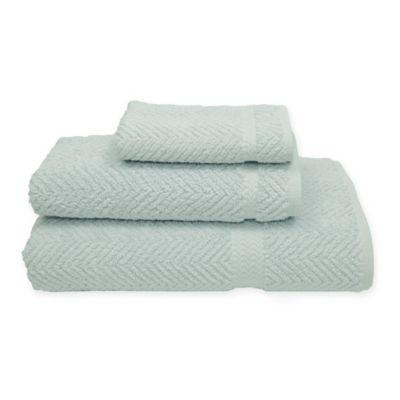 Herringbone Bath Towel in Aqua Blue