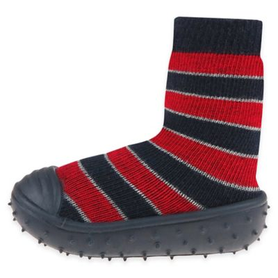 Capelli New York Size 6M Striped Slipper Socks in Navy/Red