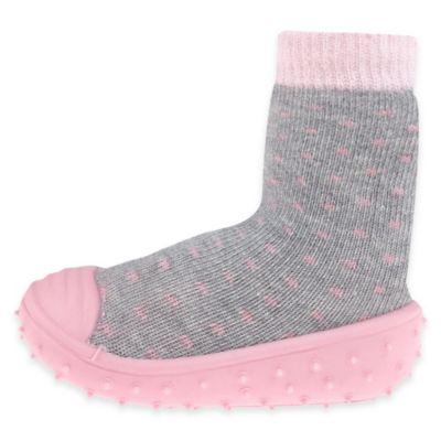 Capelli New York Size 6M Polka Dot Slipper Socks in Grey