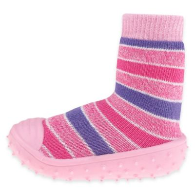 Capelli New York Size 6M Striped Slipper Socks in Pink