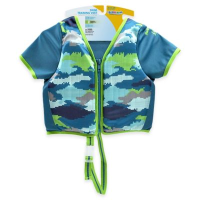 Aqua Leisure® Size S/M Boys' Short Sleeve Camo Swim Vest in Blue