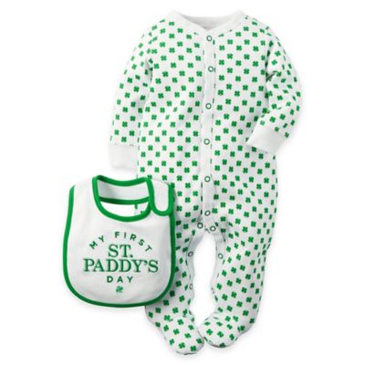 "carter's® Newborn 2-Piece ""My First St. Paddy's Day"" Printed Footie and Bib Set in Green/White"