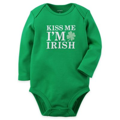 "carter's® Newborn ""Kiss Me I'm Irish"" Bodysuit in Green"