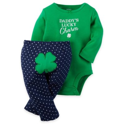 """carter's® Newborn 2-Piece """"Daddy's Lucky Charm"""" Long Sleeve Bodysuit and Pants Set in Green/Navy"""