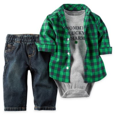 "carter's Newborn 3-Piece ""Mommy's Lucky Charm"" Green Plaid Shirt & Pant Set"