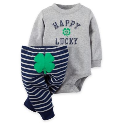 "carter's® Newborn 2-Piece ""Happy Go Lucky"" Long Sleeve Bodysuit and Clover Pants Set in Grey"