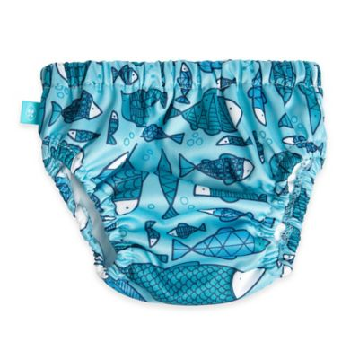 Honest Small Fish Print Swim Diaper in Blue