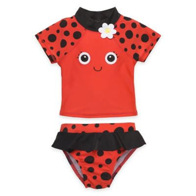 Candlesticks Size 6M 2-Piece Ladybug Rashguard Set in Red/Black