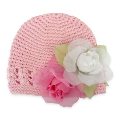 Toby™ Newborn Flower Crochet Hat in Pink