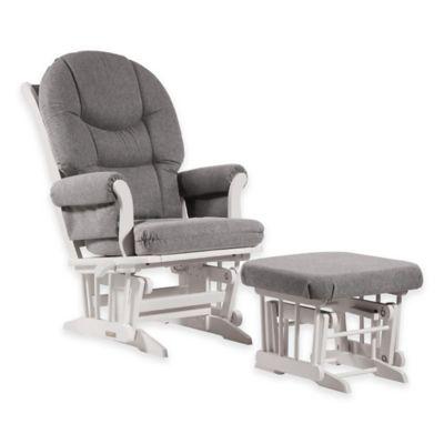 Dutailier® Ultramotion Round Back Sleigh Glider and Ottoman in White/Dark Grey