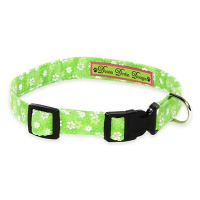 Donna Devlin Designs Medium Daisy Do Adjustable Dog Collar in Green