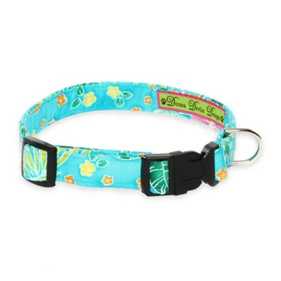 Donna Devlin Designs Small Tropical Punch Adjustable Dog Collar in Blue