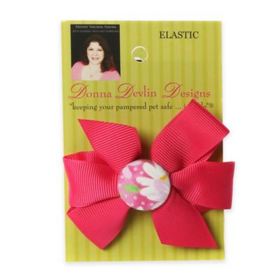 Donna Devlin Designs® Garden Party Elastic Pet Bow in Red/Pink