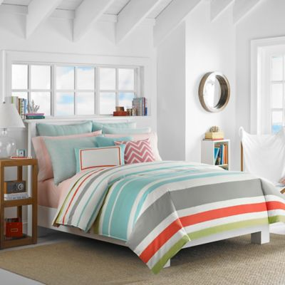 Nautica® Taplin Reversible Full/Queen Comforter Set in Aqua