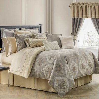 Waterford® Linens Marcello Reversible California King Comforter Set in Taupe/Gold