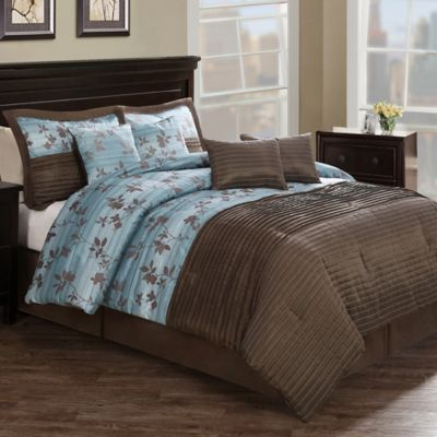 Chocolate Aqua Pleat 8-Piece Queen Comforter Set in Brown/Blue
