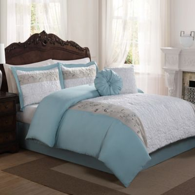Casa Christina Floral Leaf 6-Piece Queen Comforter Set in Aqua