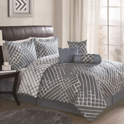 Arthur 7-Piece Queen Comforter Set in Grey