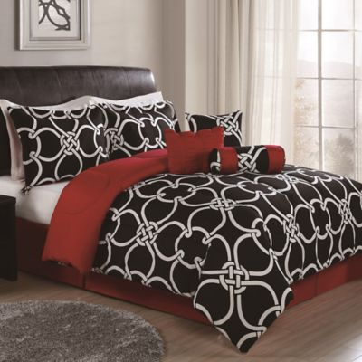 Majestic Knot 8-Piece Reversible King Comforter Set in Black/Red
