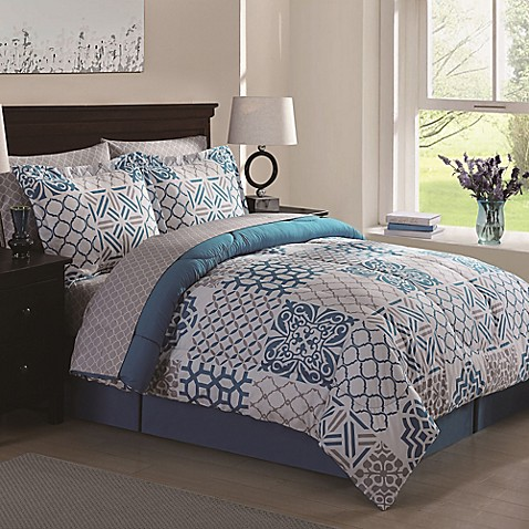 Moroccan Patch 8-Piece Comforter Set in Blue/Grey - Bed Bath & Beyond
