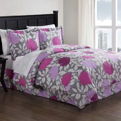 Graphic Floral 8-Piece King Comforter Set in Purple