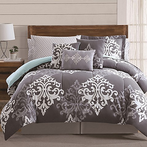 12 Piece Textured Damask Comforter Set In Grey Teal Bed