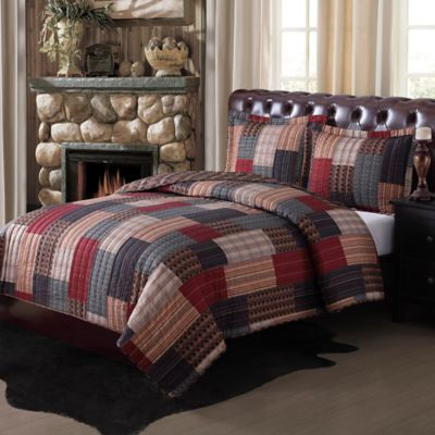 Gunnison Twin Quilt Set in Brown/Red/Blue