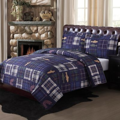 Morse Brook Twin Quilt Set in Blue/White Plaid