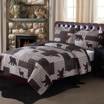 Upper Peninsula Twin Quilt Set in Brown/Green