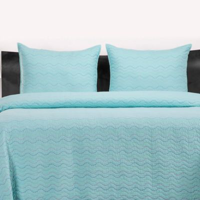 Crayola® 2-3 Piece Stitched Coverlet Set in Robin's Egg Blue