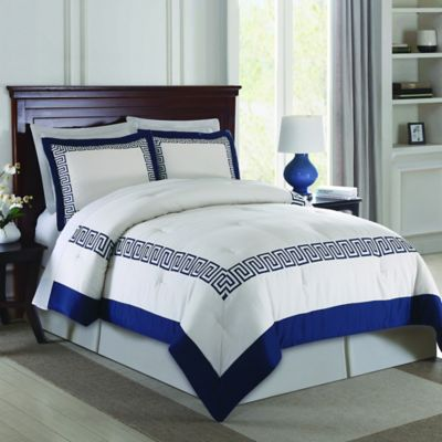 Greek Key 3-Piece Queen Comforter Set in Navy
